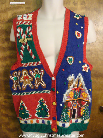 Gingerbread 80s Vest Ugly Christmas Sweater