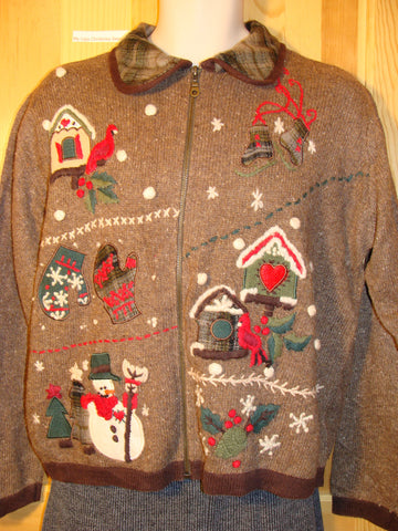 Tacky Brown Ugly Christmas Sweater with Load of Festive Decorations and a Plaid Crafty Collar (f492)