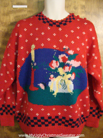 Riduculous 80s Red Ugly Christmas Sweater