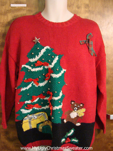 Red Festive 80s Ugly Christmas Sweater