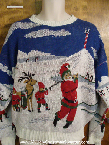 Mens Golfing Santa Ugly Christmas Sweater