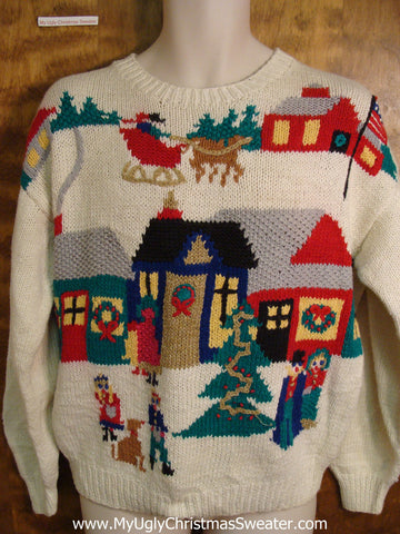 Winter Town 80s 2sided Ugly Christmas Sweater