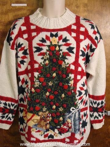 Ugly Christmas Sweater with Red Lattice Work and Tree