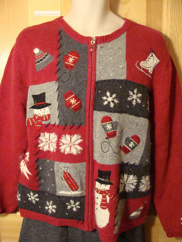 Tacky Ugly Christmas Sweater with Festive Snowflakes, Skates, Snowmen, and Mittens (f493)