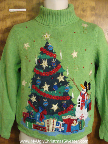 Lime Green Festive Ugly Christmas Sweater