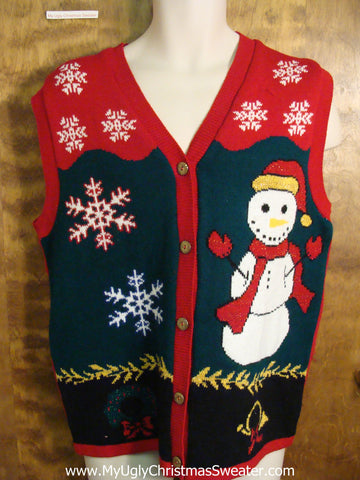 Happy Snowman Vest Ugly Christmas Sweater