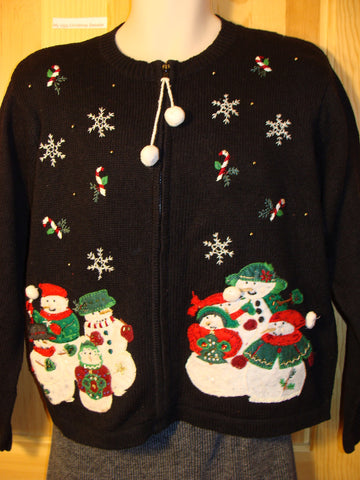 Tacky Ugly Christmas Sweater with Pom Pom Zip Pull and Festive Carrot Nosed Snowmen in a Winter Wonderland (f494)