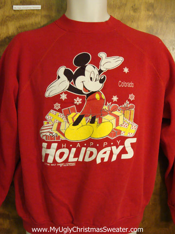 Ugly Christmas Sweatshirt with Micky Mouse