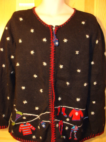 Tacky Ugly Christmas Sweater with 2sided Decorations on Front and Back Snowflakes (f495)