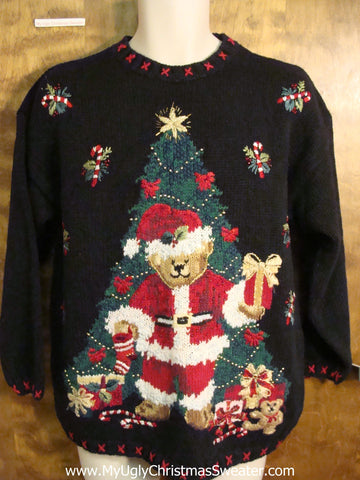 Tree and Santa 80s Ugly Christmas Sweater