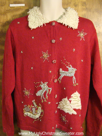 Flying Reindeer Red Ugly Christmas Sweater