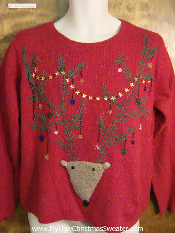 Ugly Christmas Sweater with Reindeer Head