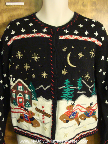 Prancing Reindeer Themed Ugly Christmas Sweater