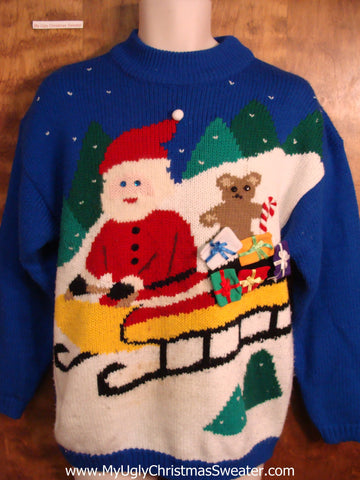 Sledding Santa 80s Ugly Christmas Sweater