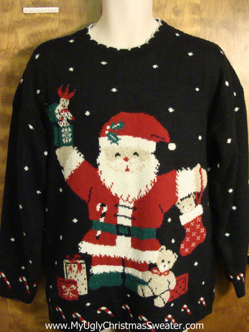 Classic 80s Huge Santa 2sided Ugly Christmas Sweater