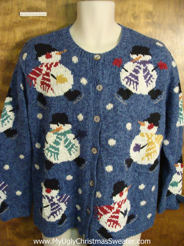 Best Cutest 2sided Snowmen 80s Ugly Christmas Sweater