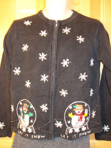 "Tacky Ugly Christmas Sweater with Snowglobe Snowmen and Snowflakes ""LET IT SNOW"" (f497)"