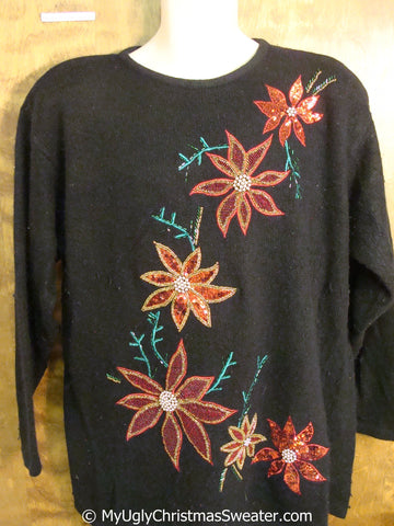 Poinsettia Paradise with Bling Ugly Christmas Sweater