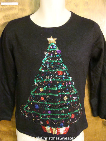 Sequin Bling Tree Ugly Christmas Sweater
