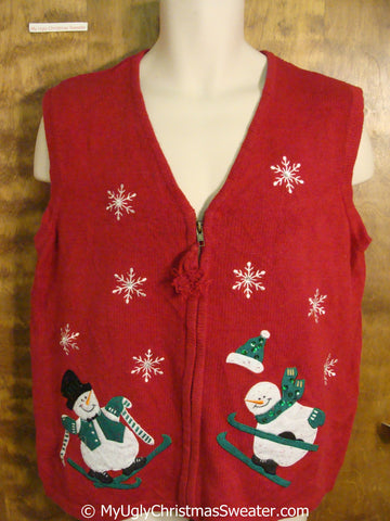 Snowmen Skiing Ugly Red Christmas Sweater Vest
