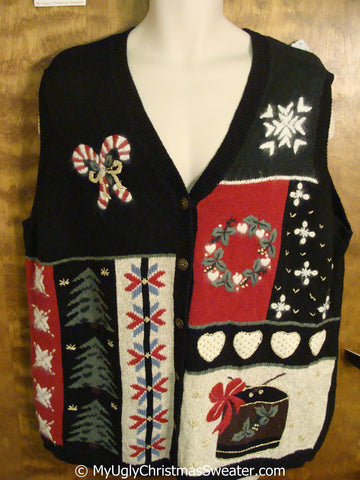 Crafty Candycanes and Hearts Ugly Christmas Sweater Vest