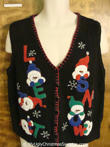 LET IT SNOW Snowmen Ugly Christmas Sweater Vest