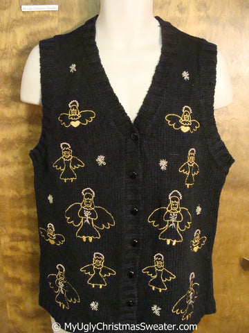 Golden Angels Ugly Christmas Sweater Vest