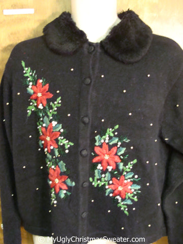 Poinsettias and Fluffy Collar Ugly Christmas Sweater