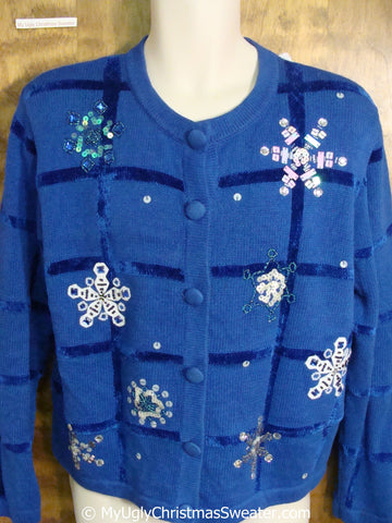 Blue Bling Snowflakes Ugly Christmas Sweater