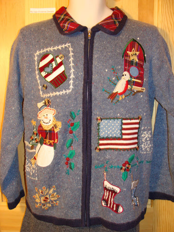 Tacky Ugly Christmas Sweater Patriotic Theme Flag, Mittens, Snowman, and Stocking (f499)