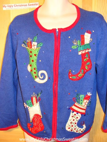 Tacky Ugly Christmas Sweater with Fun Bling Stockings (f49)