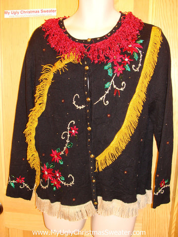 Tacky Ugly Christmas Sweater with Loads of Fringe and Bling Poinsettias (f4)