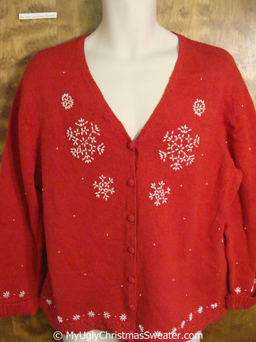 Red Ugly Christmas Sweater with Snowflakes