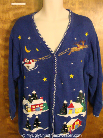 2sided Ugly Christmas Sweater with Flying Reindeer