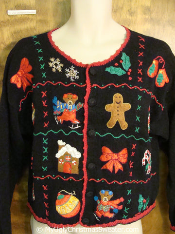 Gingerbread Men with Bears Ugly Christmas Sweater