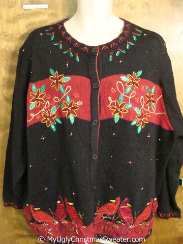 3XL Poinsettia and Cardigan Bird Themed Ugly Christmas Sweater