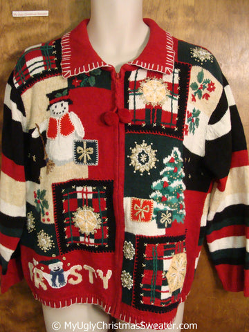 FROSTY 80s Colorful Ugly Christmas Sweater