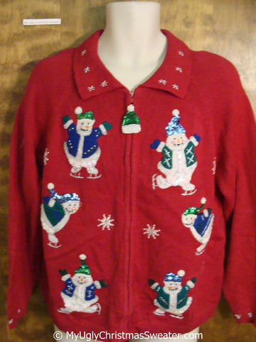 Sequin Snowmen and Bling Ugly Christmas Sweater