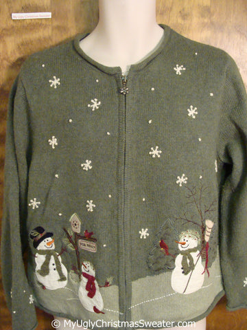 2sided Green Snowman Themed Ugly Christmas Sweater