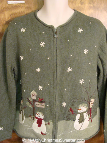 Green Ugly Christmas Sweater with Festive Snowmen