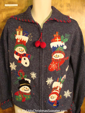 Snowmen in Stockings Ugly Christmas Sweater