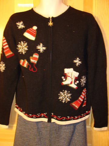 Tacky Cheap Ugly Christmas Sweater with Mittens, Stockings, Hats, and Scarfs (f501)