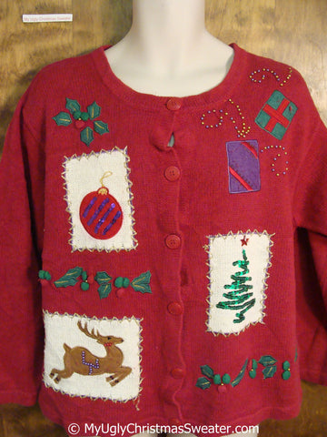 Red Ugly Christmas Sweater with Flying Reindeer