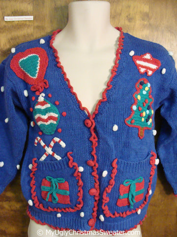 Best 80s Blue Green and Red Ugly Christmas Sweater