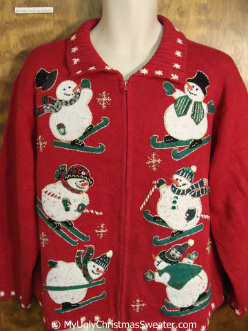 Skiing Snowman Sixpack Ugly Christmas Sweater