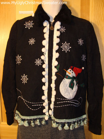 Tacky Cheap Ugly Christmas Sweater with Carrot Nosed Snowman and Dangling Fringe (f502)