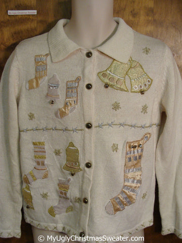 Cheap Ivory and Golden Ugly Christmas Sweater