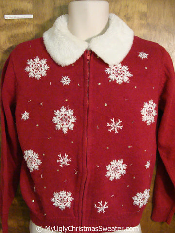 Classic Red Ugly Christmas Sweater with Snowflakes