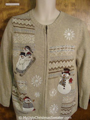 Ugly Brown Christmas Sweater with Snowmen