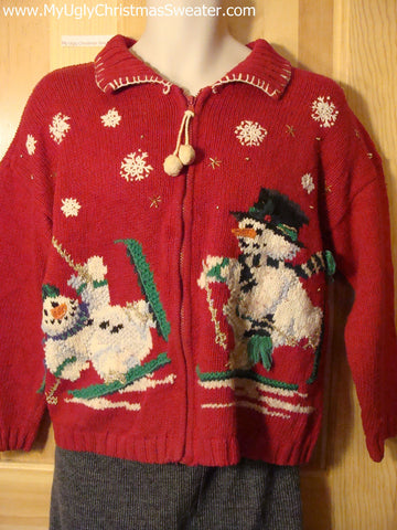 Tacky Cheap Ugly Christmas Sweater with Skiing Carrot Nosed Snowmen and a Pom Pom Dangling Zipper Pull (f503)